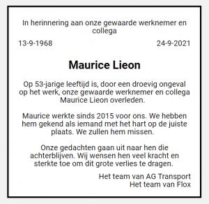 Overlijden Maurice Lieon